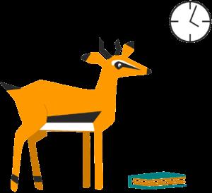 Piirroskuvassa gaselli, kirja ja kello.